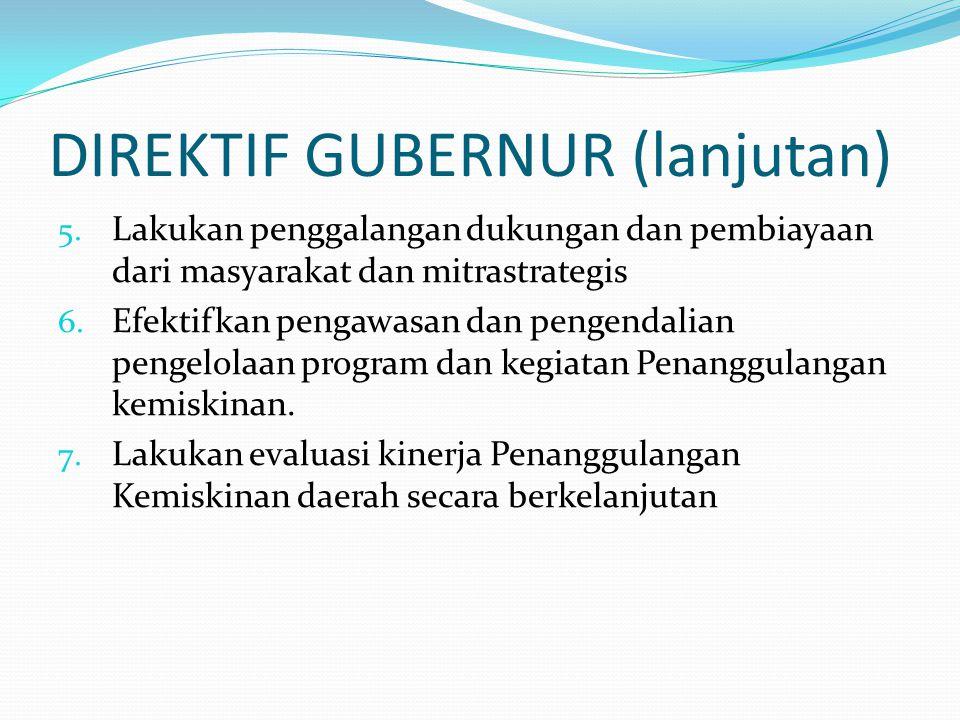DIREKTIF GUBERNUR (lanjutan) 5. Lakukan penggalangan dukungan dan pembiayaan dari masyarakat dan mitrastrategis 6. Efektifkan pengawasan dan pengendal