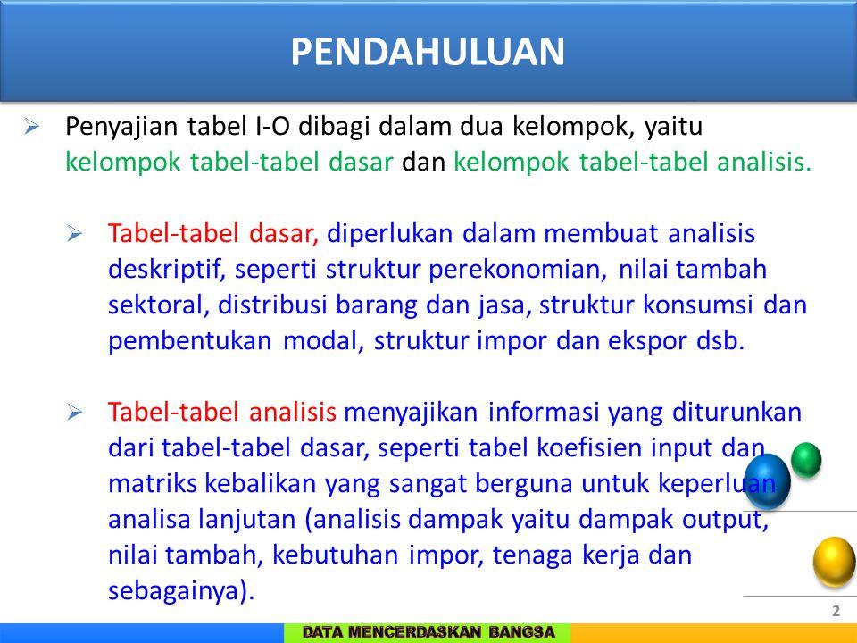 2  Penyajian tabel I-O dibagi dalam dua kelompok, yaitu kelompok tabel-tabel dasar dan kelompok tabel-tabel analisis.  Tabel-tabel dasar, diperlukan