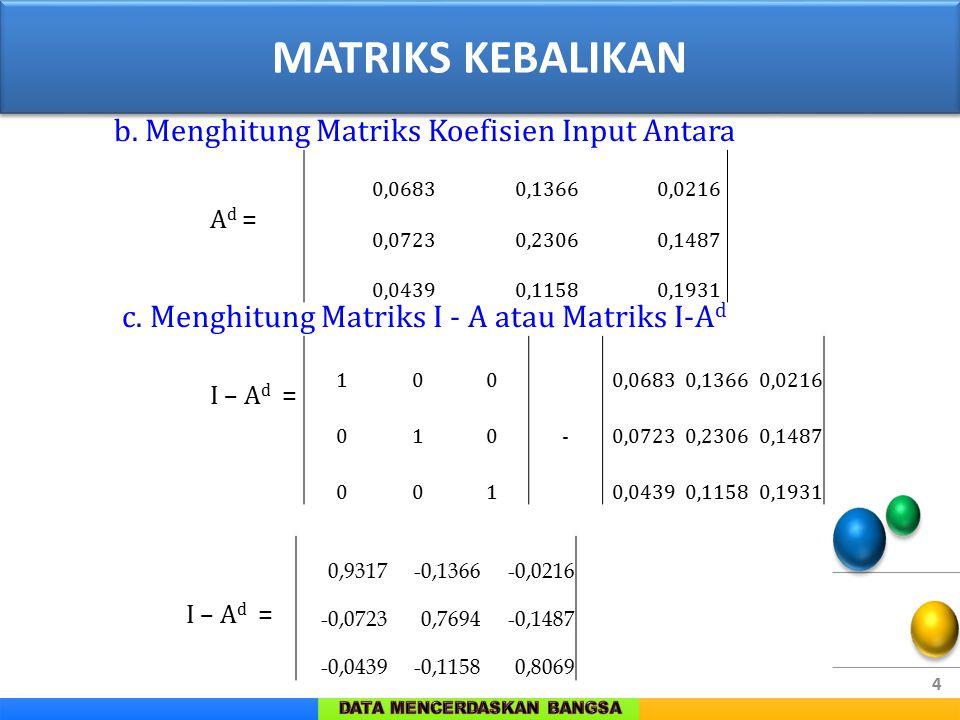 4 2. Matrik Kebalikan b. Menghitung Matriks Koefisien Input Antara A d = c. Menghitung Matriks I - A atau Matriks I-A d I – A d = 0,06830,13660,0216 0