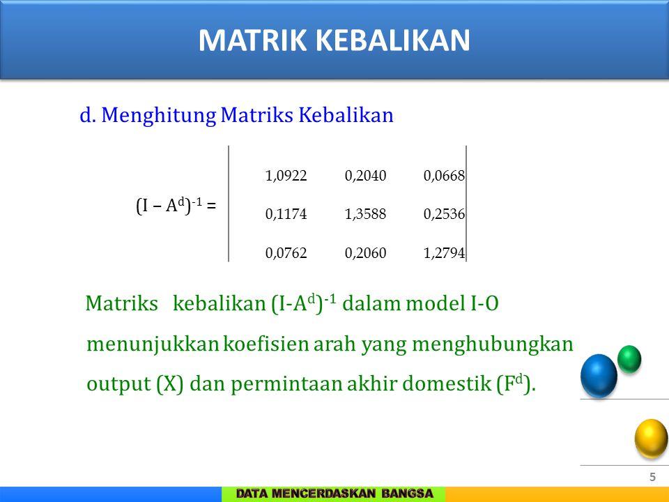 5 d. Menghitung Matriks Kebalikan (I – A d ) -1 = Matriks kebalikan (I-A d ) -1 dalam model I-O menunjukkan koefisien arah yang menghubungkan output (