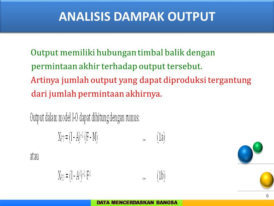 6 Output memiliki hubungan timbal balik dengan permintaan akhir terhadap output tersebut. Artinya jumlah output yang dapat diproduksi tergantung dari