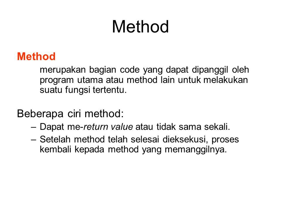 Method merupakan bagian code yang dapat dipanggil oleh program utama atau method lain untuk melakukan suatu fungsi tertentu. Beberapa ciri method: –Da