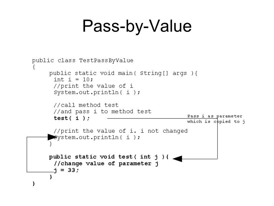 Parameter Passing Pass-by-Reference –Pada saat pass-by-reference muncul, reference untuk sebuah object di- passing untuk memanggil sebuah method.