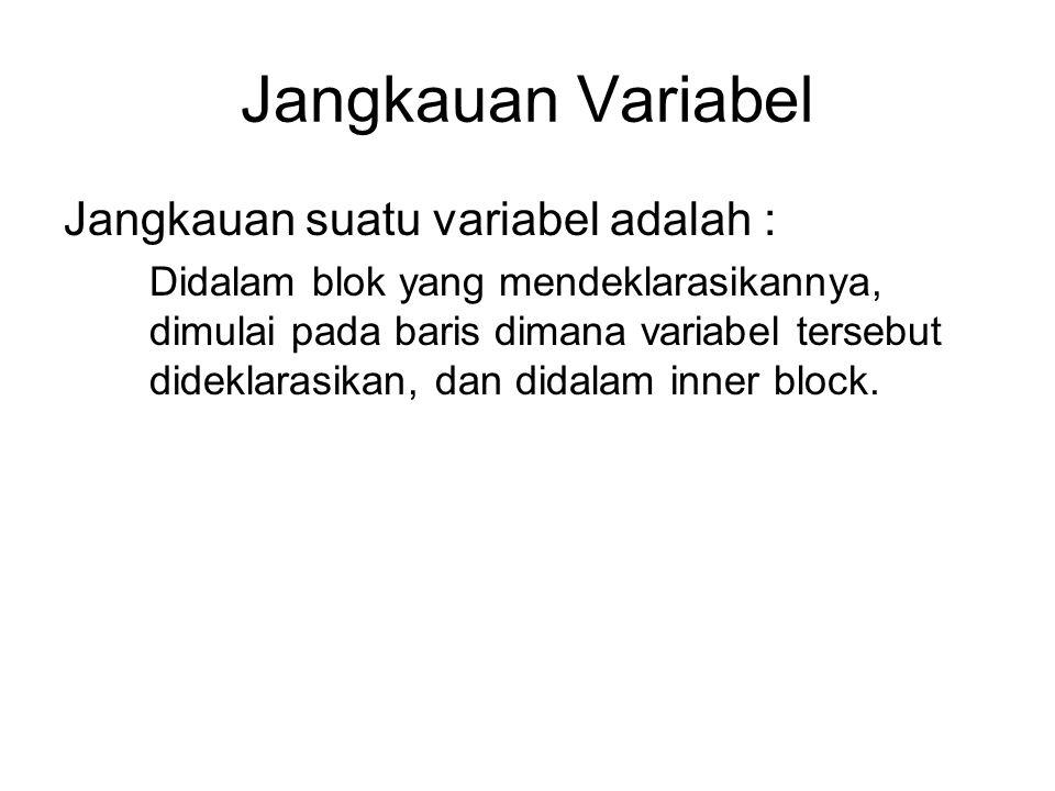 Jangkauan Variabel Jangkauan suatu variabel adalah : Didalam blok yang mendeklarasikannya, dimulai pada baris dimana variabel tersebut dideklarasikan,