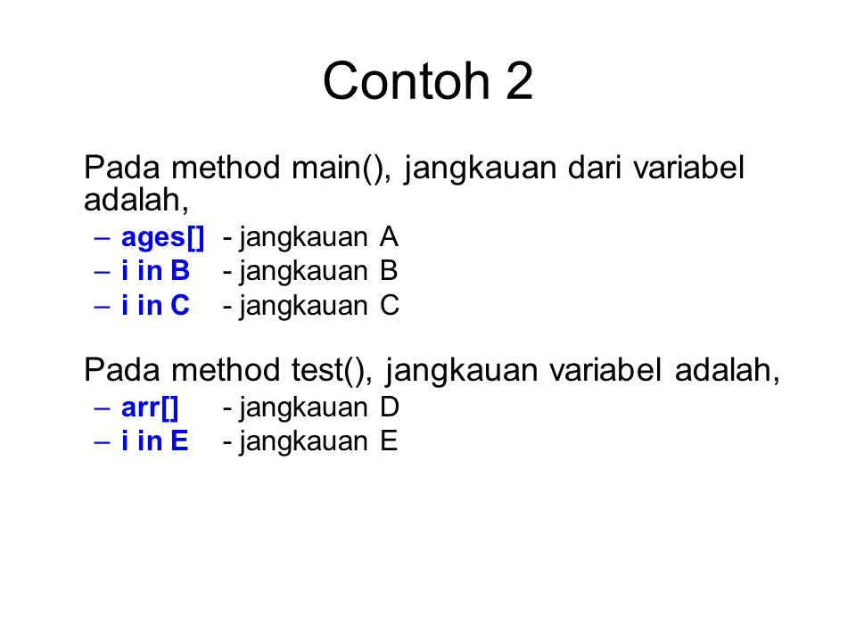 Pada method main(), jangkauan dari variabel adalah, –ages[] - jangkauan A –i in B - jangkauan B –i in C - jangkauan C Pada method test(), jangkauan va