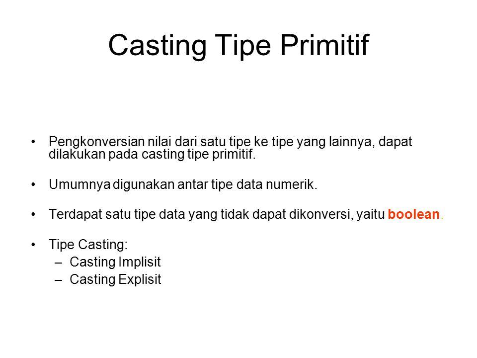 Casting Tipe Primitif Pengkonversian nilai dari satu tipe ke tipe yang lainnya, dapat dilakukan pada casting tipe primitif. Umumnya digunakan antar ti