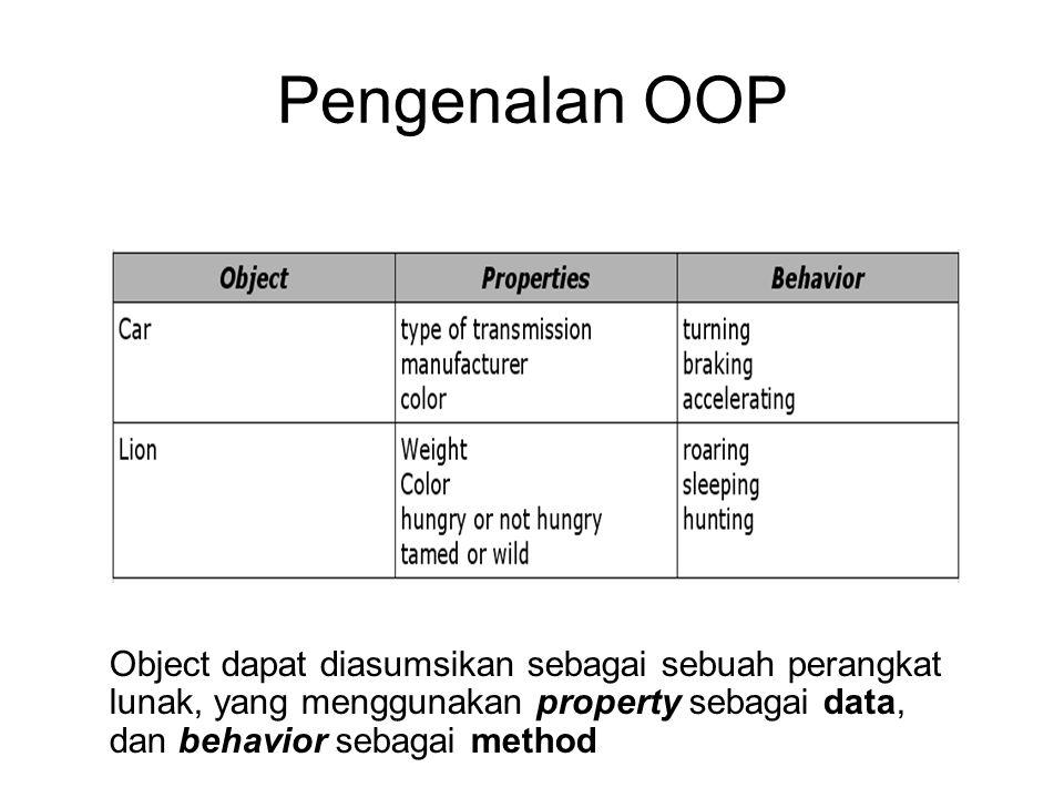 Pengenalan OOP Contoh Object : Object dapat diasumsikan sebagai sebuah perangkat lunak, yang menggunakan property sebagai data, dan behavior sebagai m