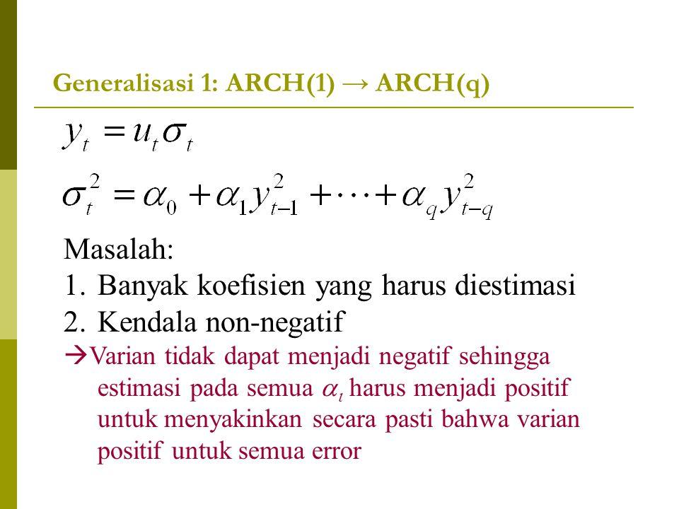 Generalisasi 1: ARCH(1) → ARCH(q) Masalah: 1.Banyak koefisien yang harus diestimasi 2.Kendala non-negatif  Varian tidak dapat menjadi negatif sehingg