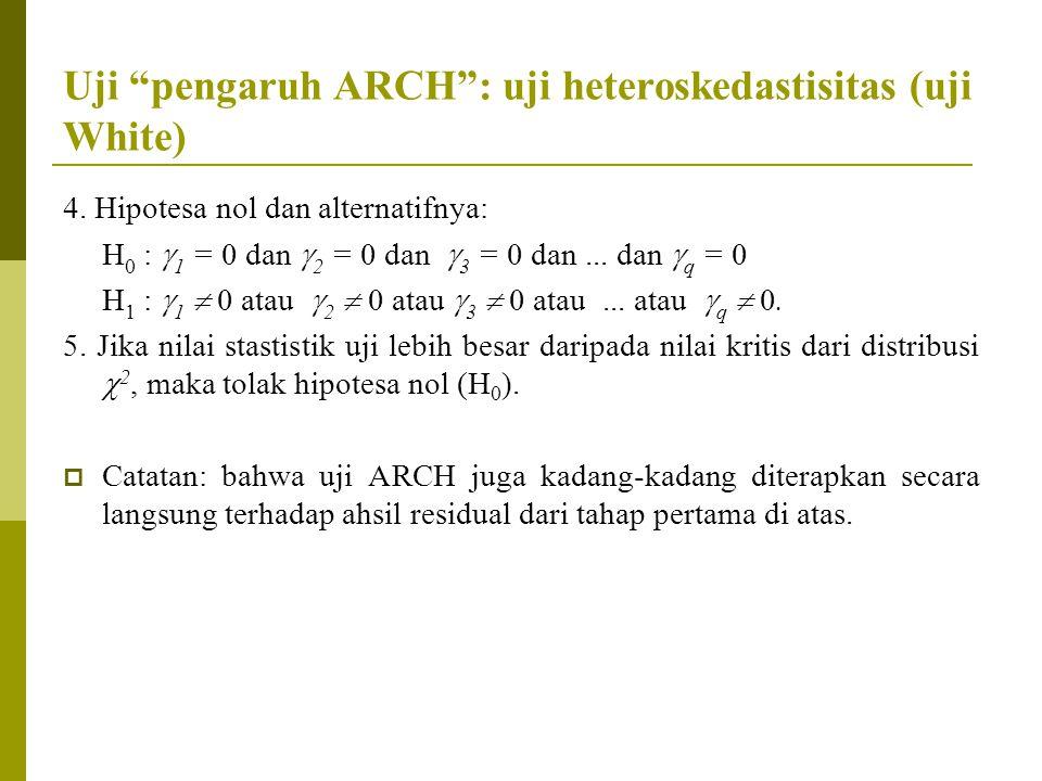 """Uji """"pengaruh ARCH"""": uji heteroskedastisitas (uji White) 4. Hipotesa nol dan alternatifnya: H 0 :  1 = 0 dan  2 = 0 dan  3 = 0 dan... dan  q = 0 H"""