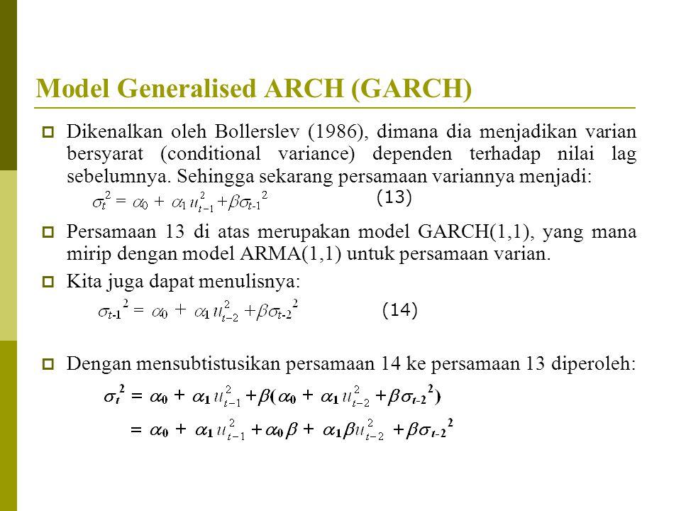 Model Generalised ARCH (GARCH)  Dikenalkan oleh Bollerslev (1986), dimana dia menjadikan varian bersyarat (conditional variance) dependen terhadap ni