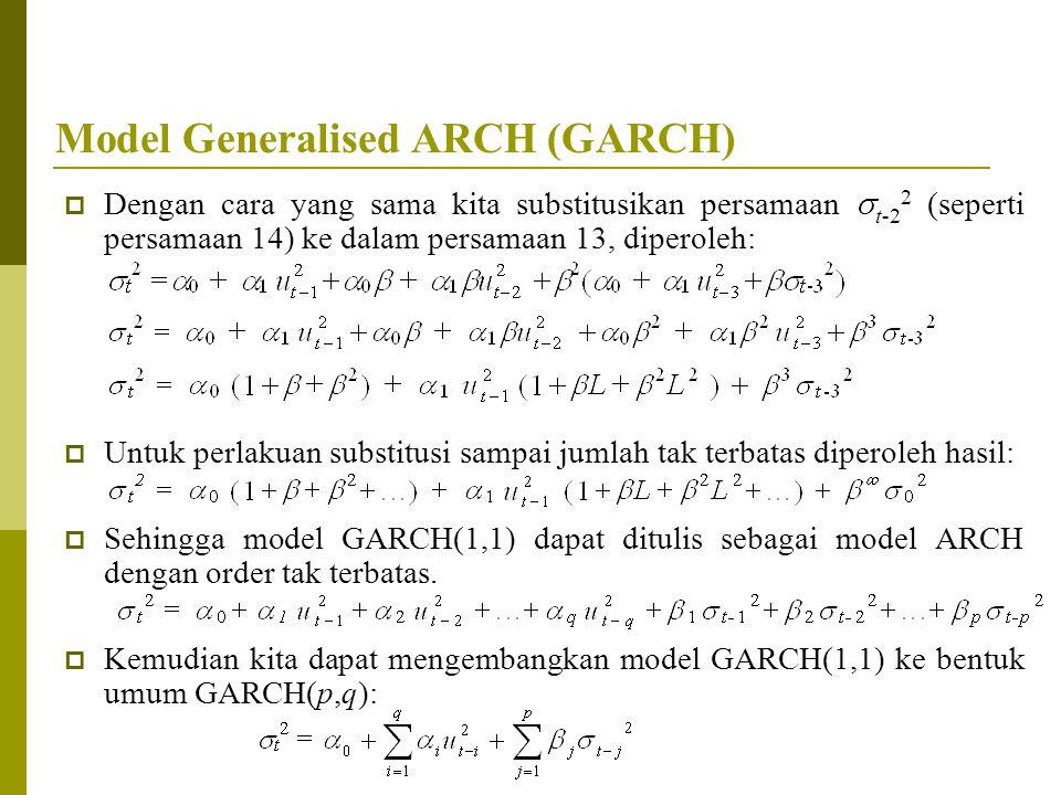 Model Generalised ARCH (GARCH)  Dengan cara yang sama kita substitusikan persamaan  t-2 2 (seperti persamaan 14) ke dalam persamaan 13, diperoleh: 