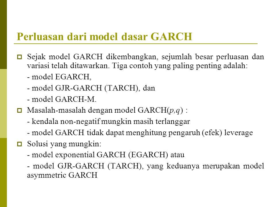 Perluasan dari model dasar GARCH  Sejak model GARCH dikembangkan, sejumlah besar perluasan dan variasi telah ditawarkan. Tiga contoh yang paling pent