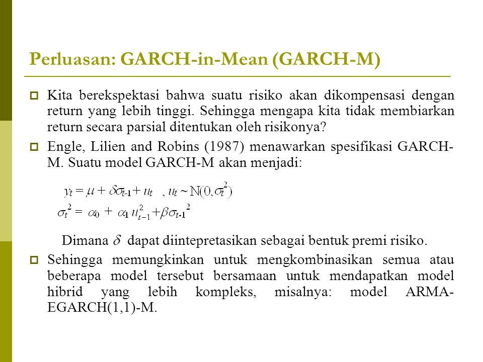 Perluasan: GARCH-in-Mean (GARCH-M)  Kita berekspektasi bahwa suatu risiko akan dikompensasi dengan return yang lebih tinggi. Sehingga mengapa kita ti