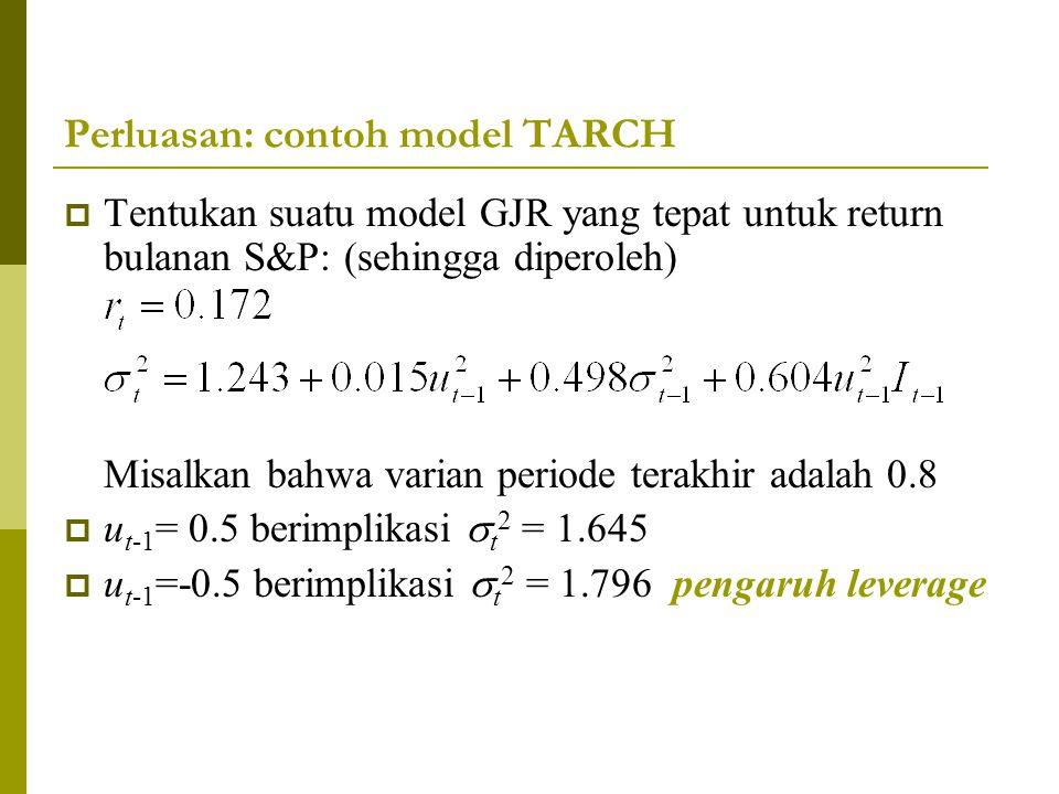 Perluasan: contoh model TARCH  Tentukan suatu model GJR yang tepat untuk return bulanan S&P: (sehingga diperoleh) Misalkan bahwa varian periode terak