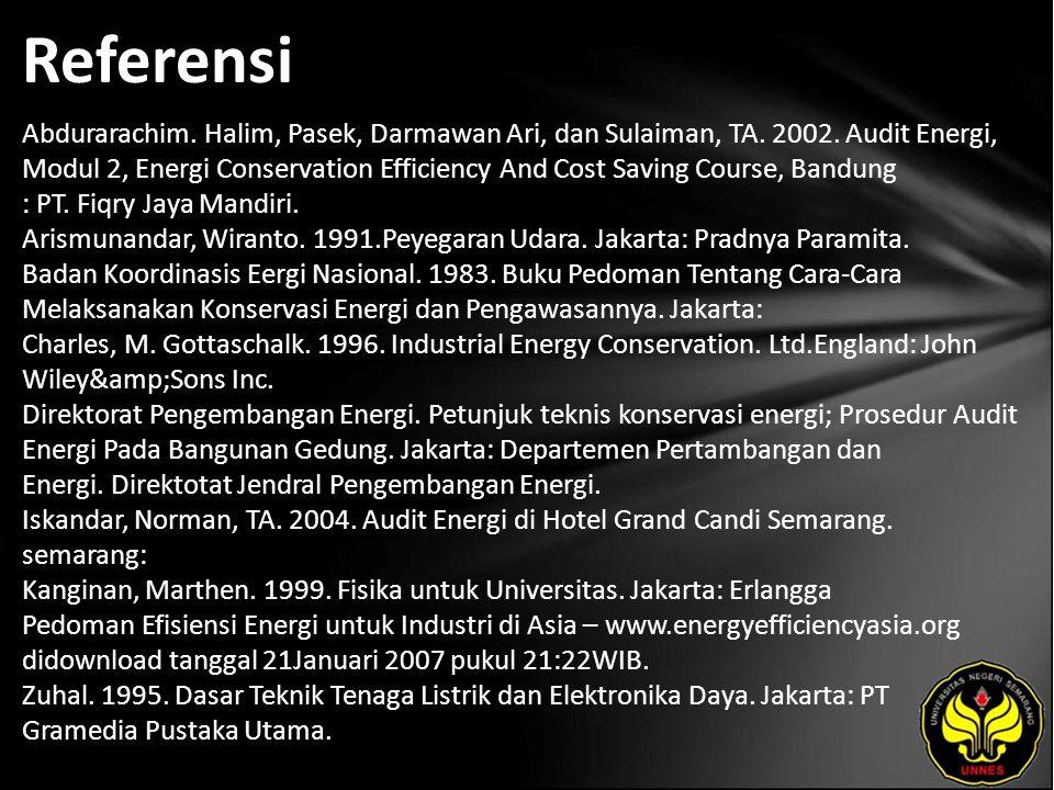 Referensi Abdurarachim. Halim, Pasek, Darmawan Ari, dan Sulaiman, TA. 2002. Audit Energi, Modul 2, Energi Conservation Efficiency And Cost Saving Cour