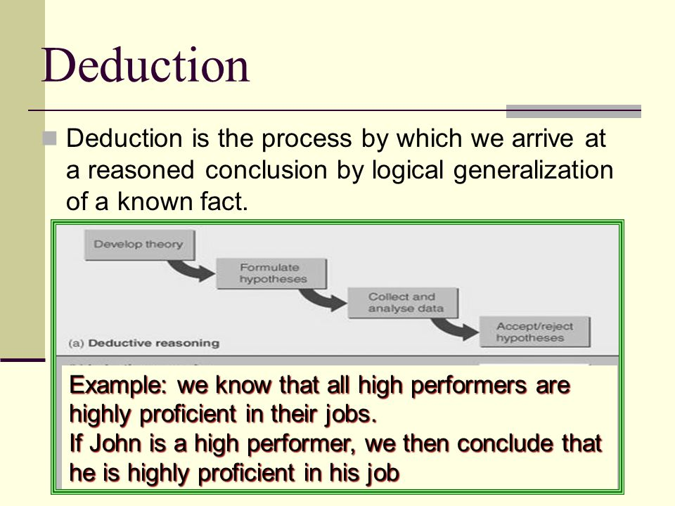 Deduction Deduction is the process by which we arrive at a reasoned conclusion by logical generalization of a known fact. Example: we know that all hi
