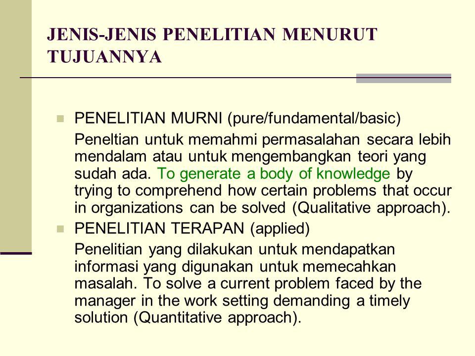 JENIS-JENIS PENELITIAN MENURUT TUJUANNYA PENELITIAN MURNI (pure/fundamental/basic) Peneltian untuk memahmi permasalahan secara lebih mendalam atau unt