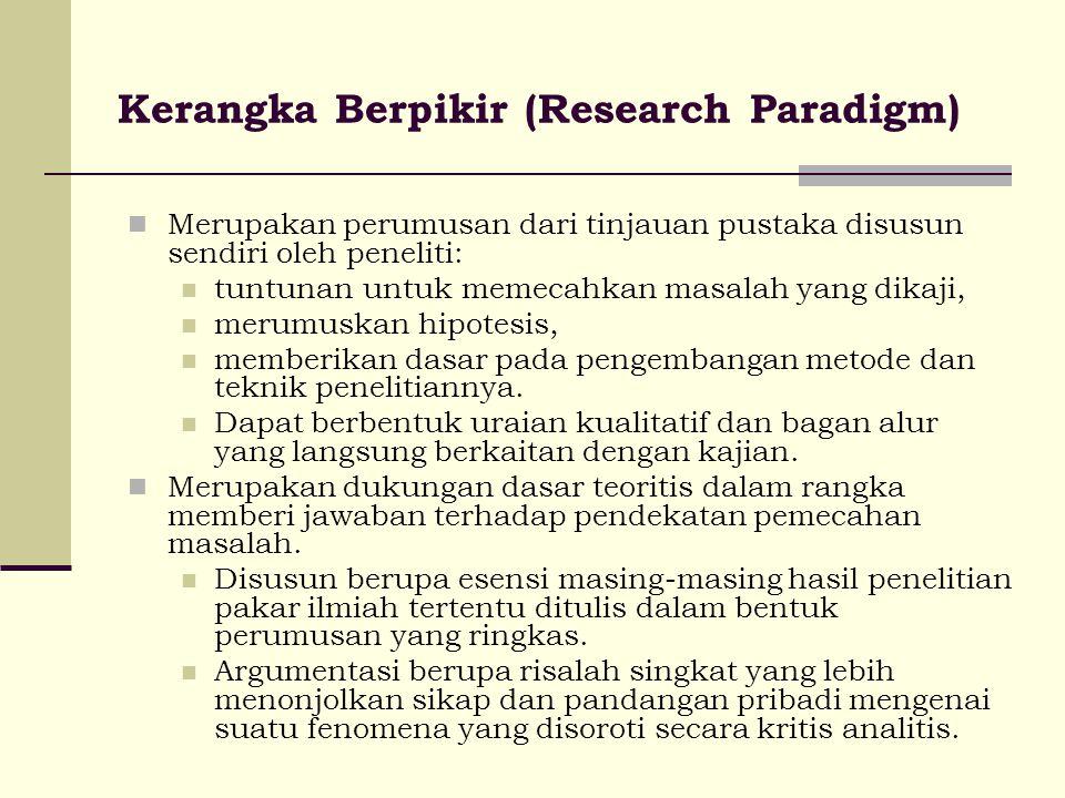 Kerangka Berpikir (Research Paradigm) Merupakan perumusan dari tinjauan pustaka disusun sendiri oleh peneliti: tuntunan untuk memecahkan masalah yang