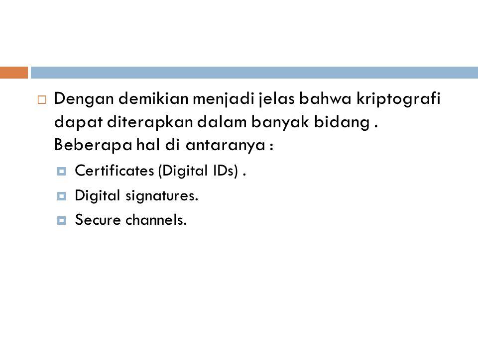  Dengan demikian menjadi jelas bahwa kriptografi dapat diterapkan dalam banyak bidang. Beberapa hal di antaranya :  Certificates (Digital IDs).  Di