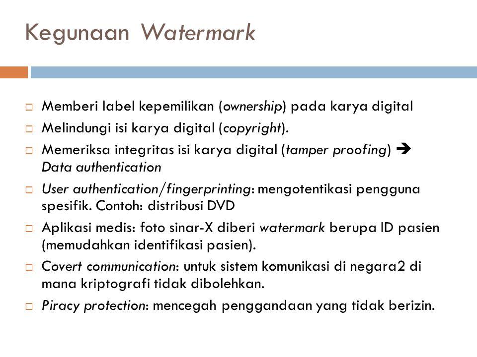 Kegunaan Watermark  Memberi label kepemilikan (ownership) pada karya digital  Melindungi isi karya digital (copyright).  Memeriksa integritas isi k