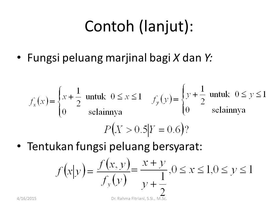 Contoh (lanjut): Fungsi peluang marjinal bagi X dan Y: Tentukan fungsi peluang bersyarat: 4/16/2015Dr. Rahma Fitriani, S.Si., M.Sc.