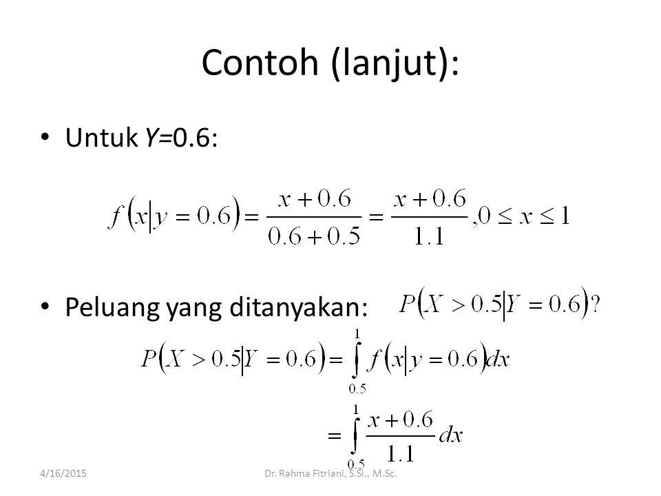 Contoh (lanjut): Untuk Y=0.6: Peluang yang ditanyakan: 4/16/2015Dr. Rahma Fitriani, S.Si., M.Sc.