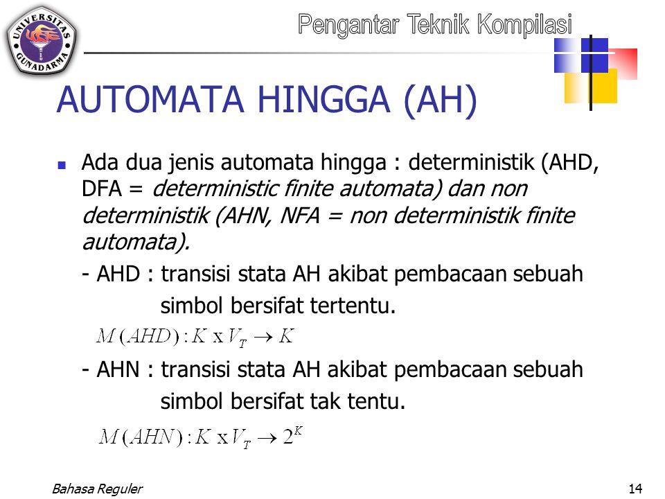 Bahasa Reguler14 AUTOMATA HINGGA (AH) Ada dua jenis automata hingga : deterministik (AHD, DFA = deterministic finite automata) dan non deterministik (