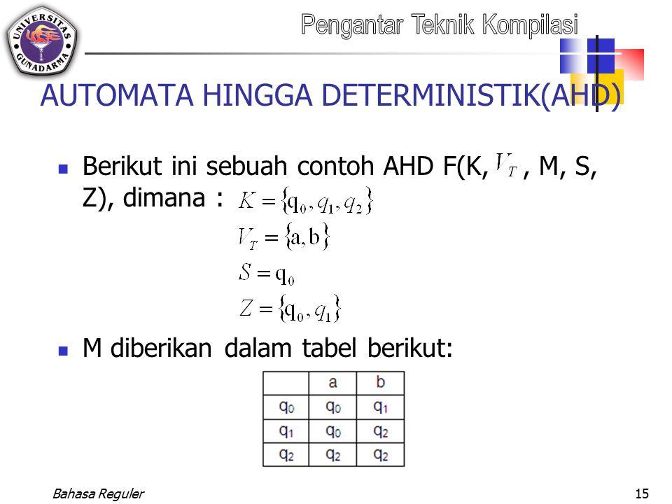 Bahasa Reguler15 AUTOMATA HINGGA DETERMINISTIK(AHD) Berikut ini sebuah contoh AHD F(K,, M, S, Z), dimana : M diberikan dalam tabel berikut:
