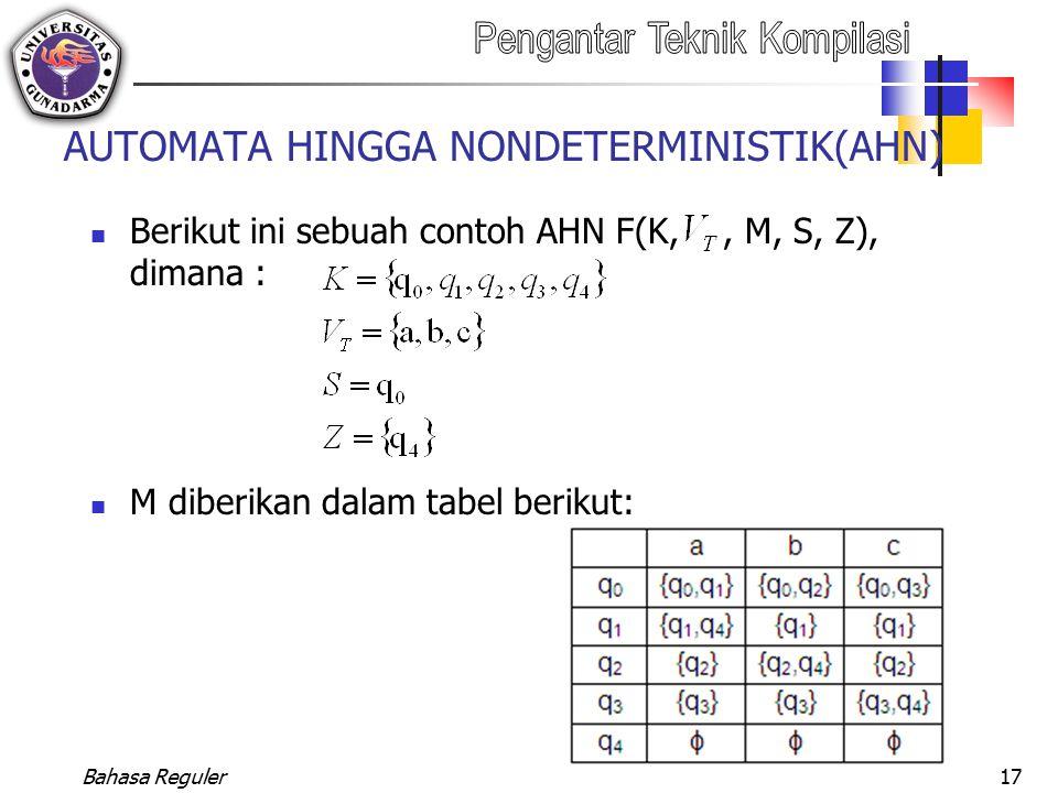 Bahasa Reguler17 AUTOMATA HINGGA NONDETERMINISTIK(AHN) Berikut ini sebuah contoh AHN F(K,, M, S, Z), dimana : M diberikan dalam tabel berikut: