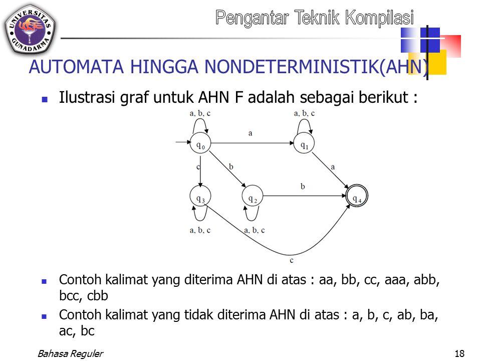 Bahasa Reguler18 AUTOMATA HINGGA NONDETERMINISTIK(AHN) Ilustrasi graf untuk AHN F adalah sebagai berikut : Contoh kalimat yang diterima AHN di atas :