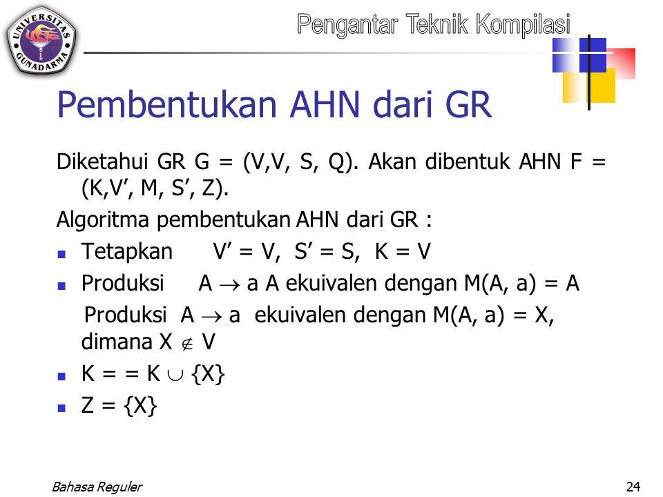 Bahasa Reguler24 Pembentukan AHN dari GR Diketahui GR G = (V,V, S, Q). Akan dibentuk AHN F = (K,V', M, S', Z). Algoritma pembentukan AHN dari GR : Tet