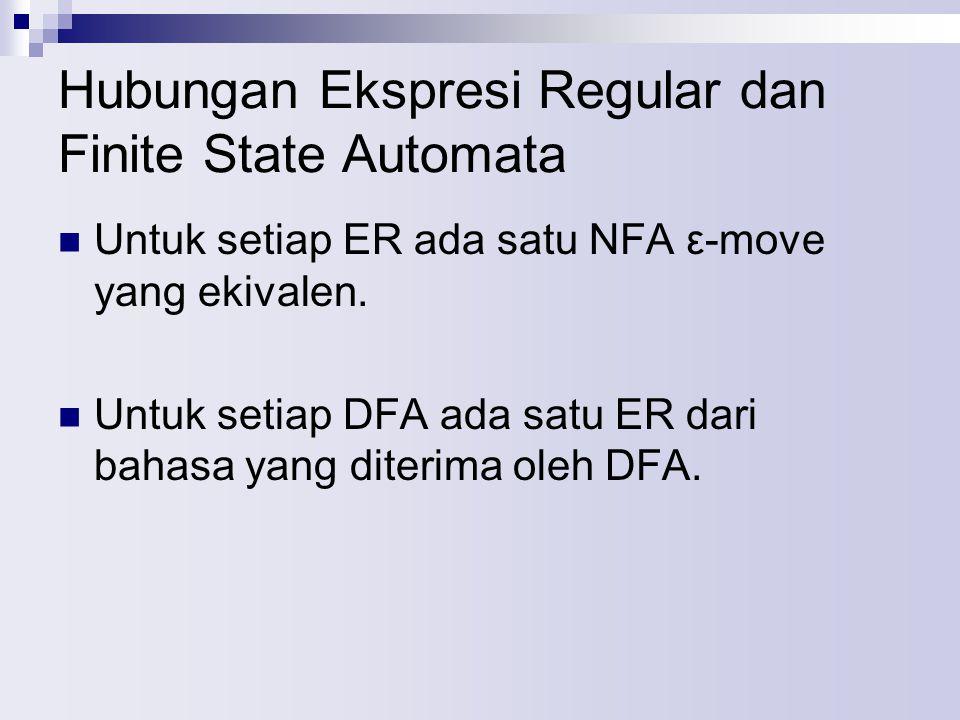 Hubungan Ekspresi Regular dan Finite State Automata Untuk setiap ER ada satu NFA ε-move yang ekivalen. Untuk setiap DFA ada satu ER dari bahasa yang d