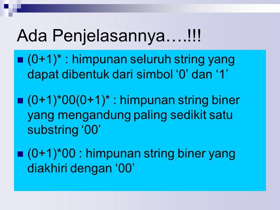 Ada Penjelasannya….!!! (0+1)* : himpunan seluruh string yang dapat dibentuk dari simbol '0' dan '1' (0+1)*00(0+1)* : himpunan string biner yang mengan