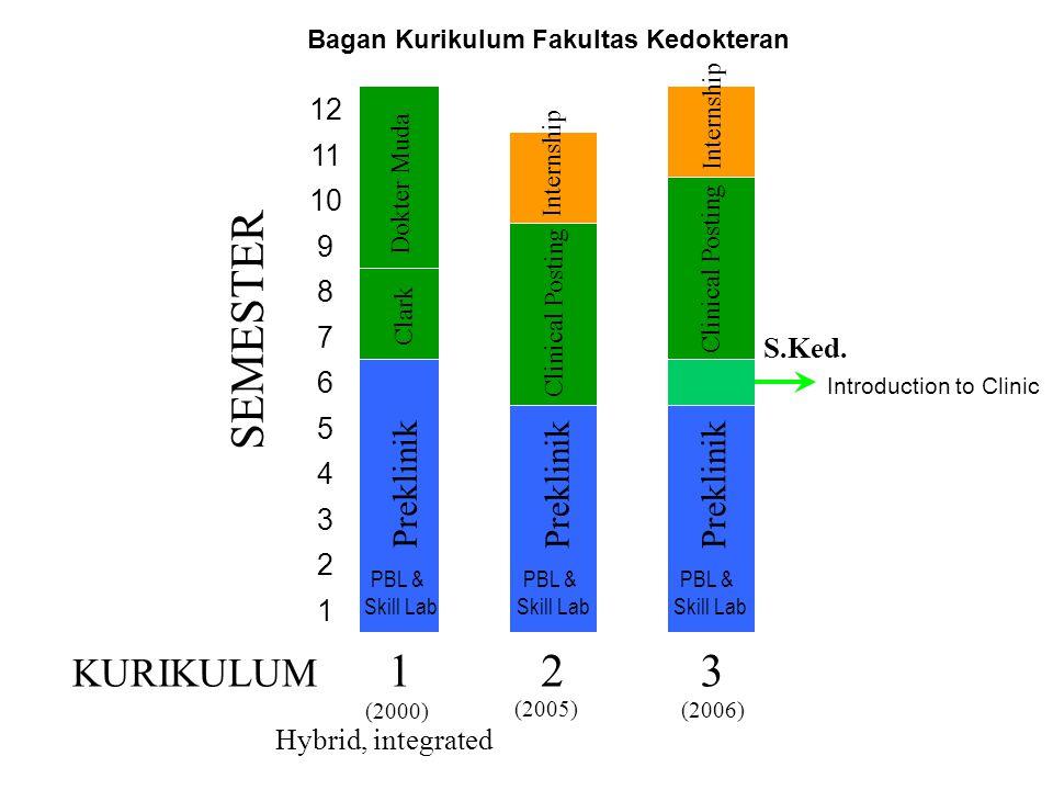 KURIKULUM SEMESTER 1 23 Preklinik Clark Dokter Muda Preklinik Clinical Posting Internship Clinical Posting Preklinik Internship (2000) (2005) S.Ked. H
