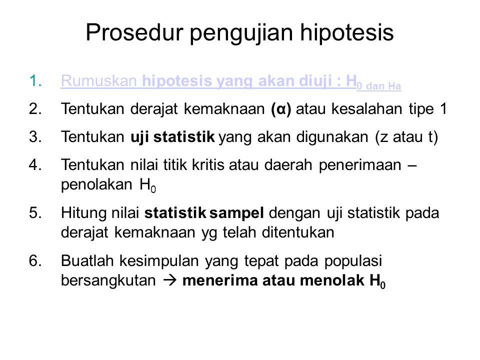 Prosedur pengujian hipotesis 1.Rumuskan hipotesis yang akan diuji : H 0 dan HaRumuskan hipotesis yang akan diuji : H 0 dan Ha 2.Tentukan derajat kemak