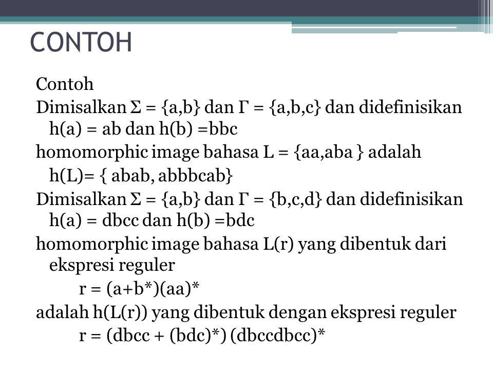 CONTOH Contoh Dimisalkan Σ = {a,b} dan Γ = {a,b,c} dan didefinisikan h(a) = ab dan h(b) =bbc homomorphic image bahasa L = {aa,aba } adalah h(L)= { aba