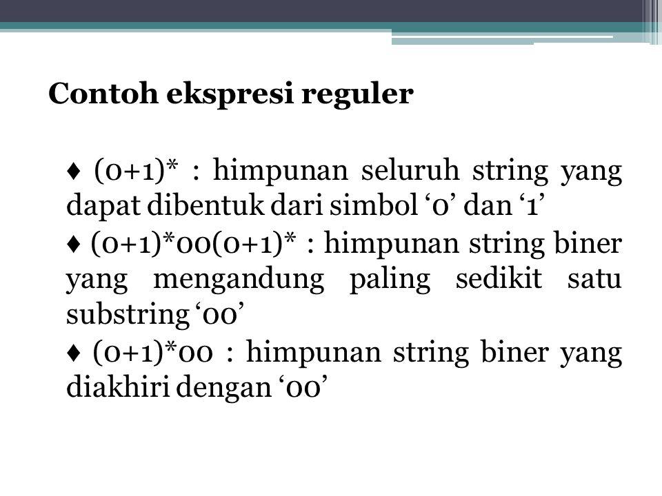 Contoh ekspresi reguler ♦ (0+1)* : himpunan seluruh string yang dapat dibentuk dari simbol '0' dan '1' ♦ (0+1)*00(0+1)* : himpunan string biner yang m