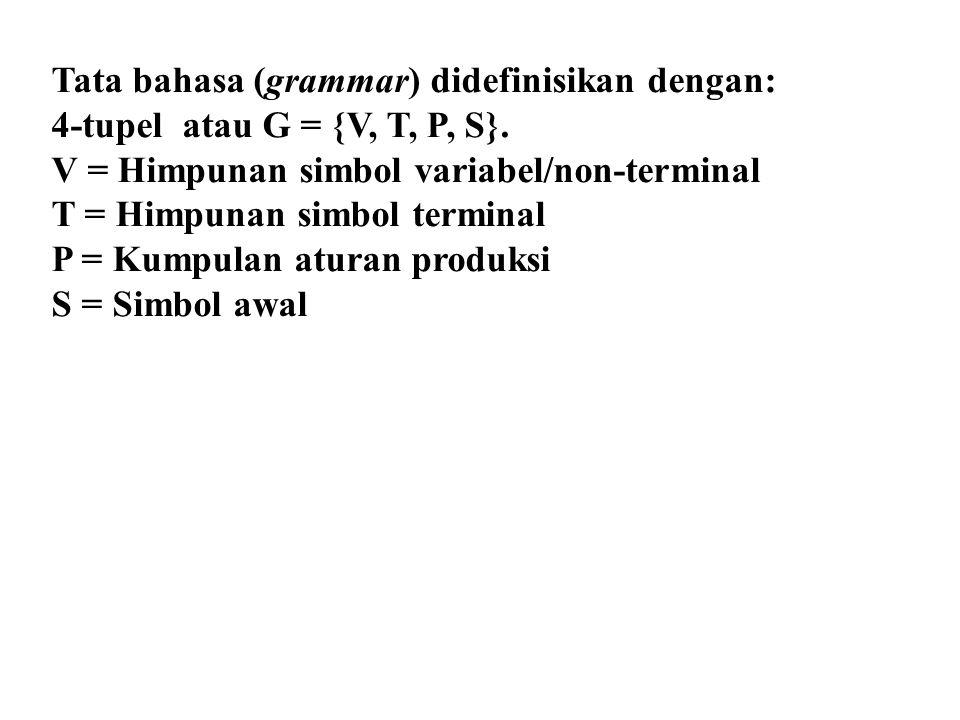 Tata bahasa (grammar) didefinisikan dengan: 4-tupel atau G = {V, T, P, S}. V = Himpunan simbol variabel/non-terminal T = Himpunan simbol terminal P =