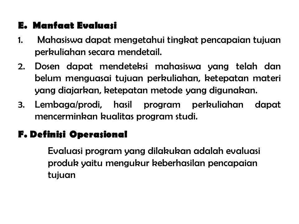 E.Manfaat Evaluasi 1.