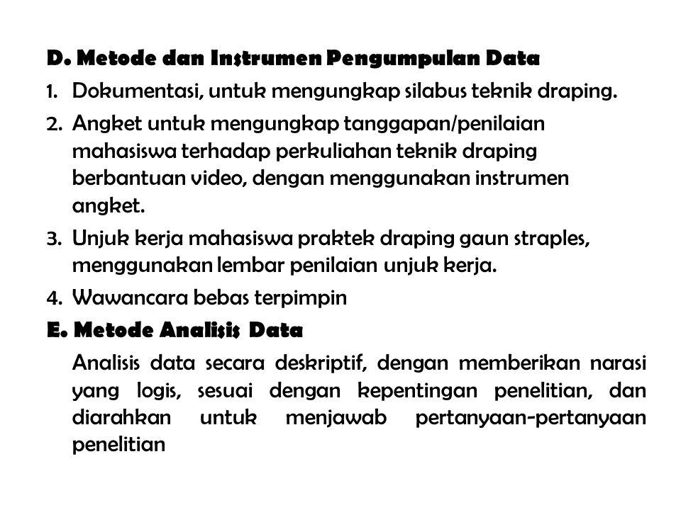 D.Metode dan Instrumen Pengumpulan Data 1.Dokumentasi, untuk mengungkap silabus teknik draping.