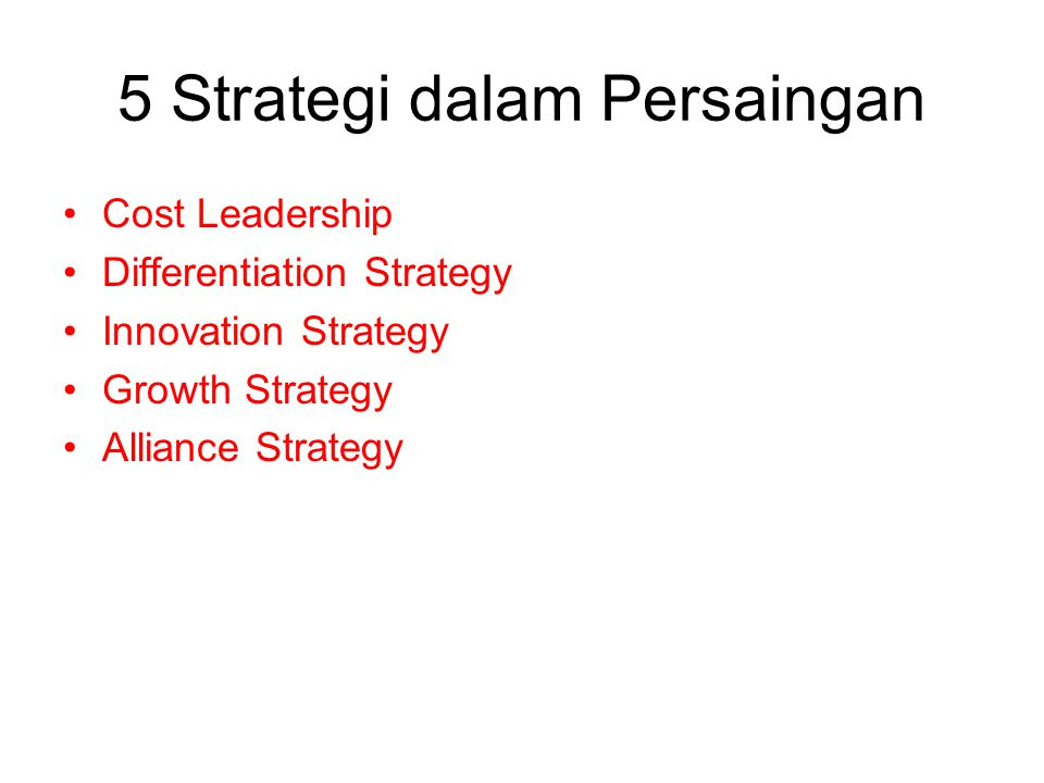 5 Strategi dalam Persaingan Cost Leadership Differentiation Strategy Innovation Strategy Growth Strategy Alliance Strategy
