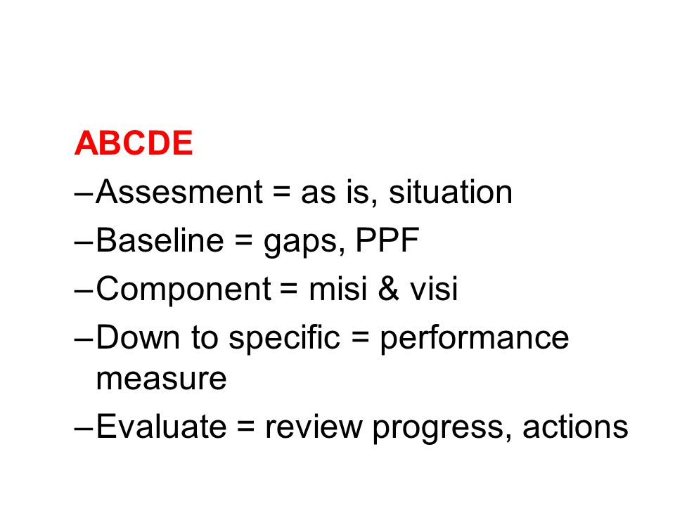 ABCDE –Assesment = as is, situation –Baseline = gaps, PPF –Component = misi & visi –Down to specific = performance measure –Evaluate = review progress, actions
