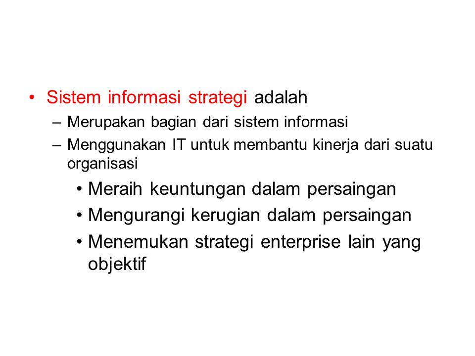 Sistem informasi strategi adalah –Merupakan bagian dari sistem informasi –Menggunakan IT untuk membantu kinerja dari suatu organisasi Meraih keuntungan dalam persaingan Mengurangi kerugian dalam persaingan Menemukan strategi enterprise lain yang objektif
