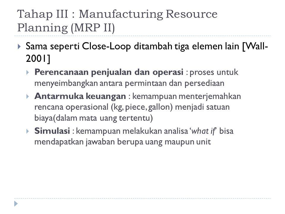 Tahap III : Manufacturing Resource Planning (MRP II)  Sama seperti Close-Loop ditambah tiga elemen lain [Wall- 2001]  Perencanaan penjualan dan oper