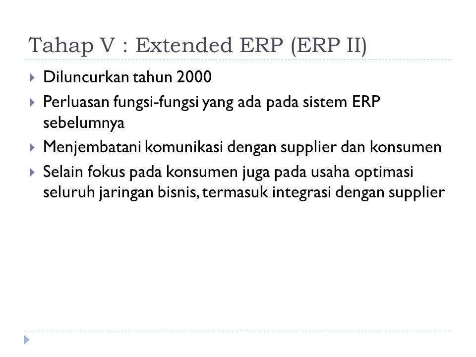 Tahap V : Extended ERP (ERP II)  Diluncurkan tahun 2000  Perluasan fungsi-fungsi yang ada pada sistem ERP sebelumnya  Menjembatani komunikasi denga