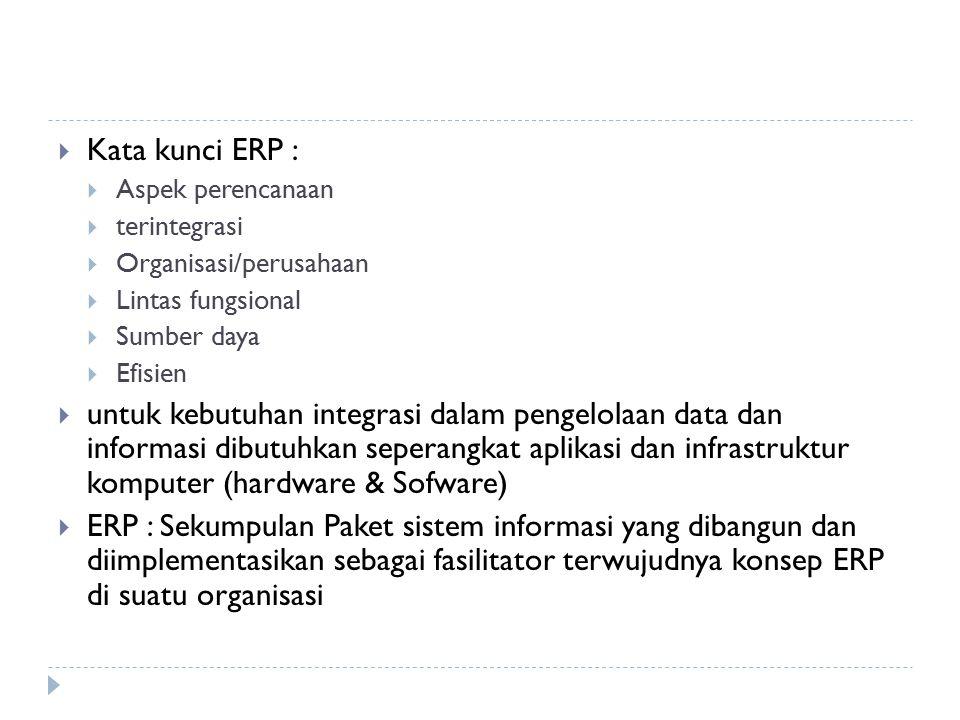 Tahap IV : Enterprise Resource Planning  Dasar-dasar ERP mirip dengan MRP II  Proses bisnis diperluas dan lebih sesuai dengan kondisi perusahaan dengan beberapa unit bisnis  Integrasi keuangan lebih ditekankan  Adanya alat bantu rantai-pasok (supply chain)  Dukungan bisnis melintas batas fungsi perusahaan atau keluar perusahaan  Tujuan utama implementasi ERP untuk perusahaan/org yang menjalankan bisnis dalam kondisi yang cepat berubah dan kompetitif