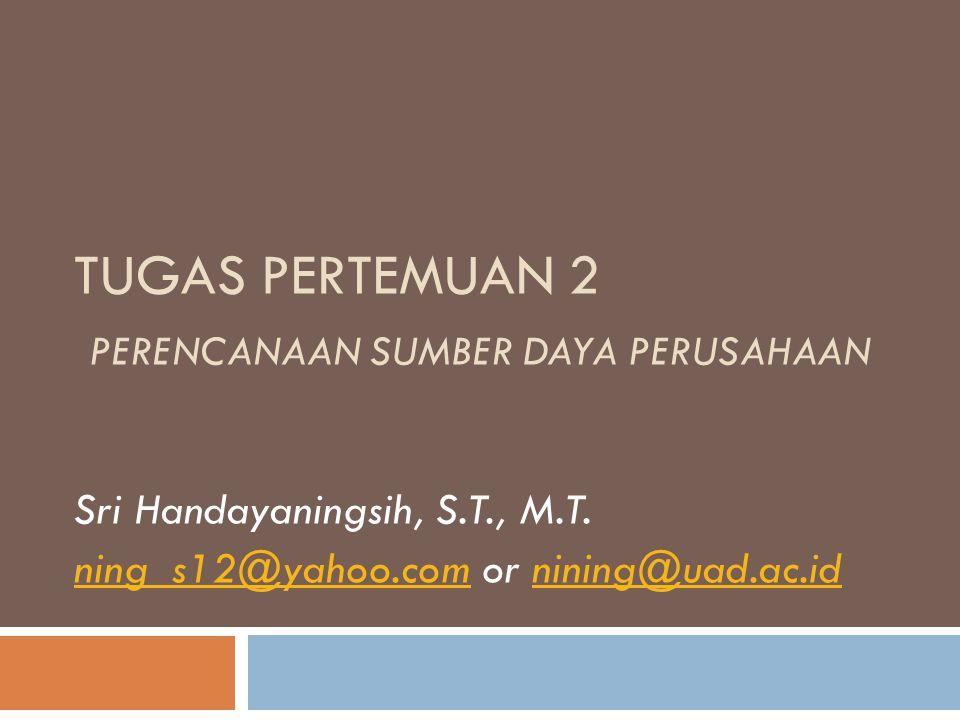 TUGAS PERTEMUAN 2 PERENCANAAN SUMBER DAYA PERUSAHAAN Sri Handayaningsih, S.T., M.T.