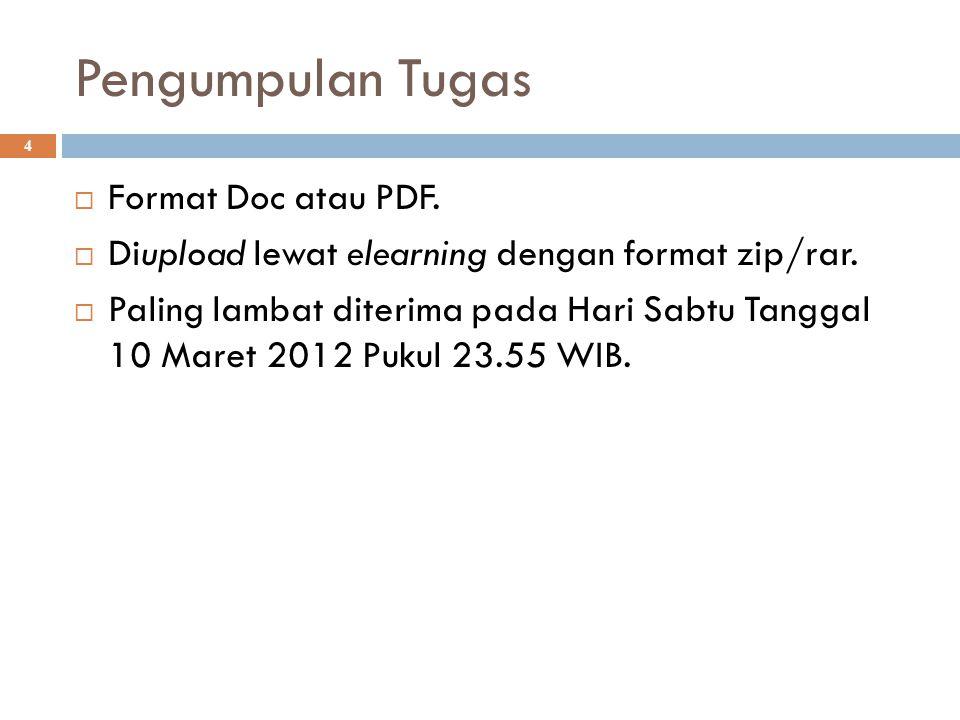Pengumpulan Tugas  Format Doc atau PDF.  Diupload lewat elearning dengan format zip/rar.