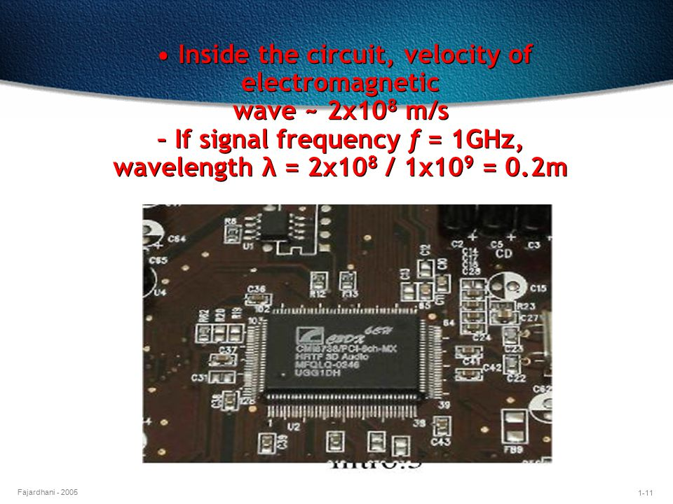 1-11 Fajardhani - 2005 Inside the circuit, velocity of electromagnetic wave ~ 2x10 8 m/s – If signal frequency f = 1GHz, wavelength λ = 2x10 8 / 1x10 9 = 0.2m