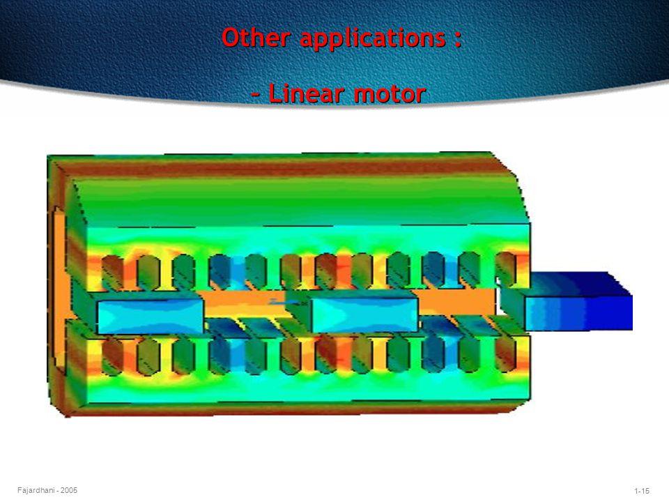 1-15 Fajardhani - 2005 Other applications : – Linear motor